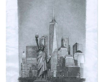 Statue of Liberty and World One Trade Center