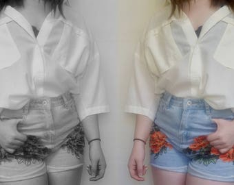 Double Pocketed White Short-Sleeved Button-Down