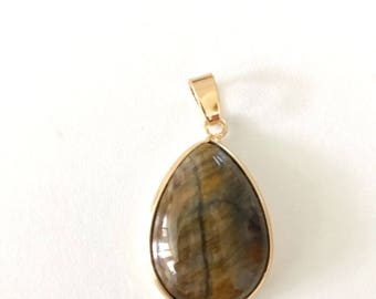1 Pc, Tiger Eye Gem Stone Pendant,  Rose Gold Plated,  18x25 mm,