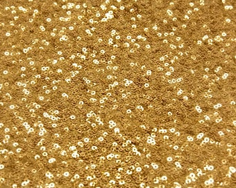 Gold Sequin Fabric, Glitters Sequins Fabric, Gold Full Sequin on Mesh Fabric, Gold Sequins Fabric by the Yard -SQG