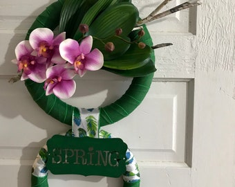 Spring Wreath, Summer Wreath, Tropical Wreath, Orchids, Home Decor, Wall Hanging