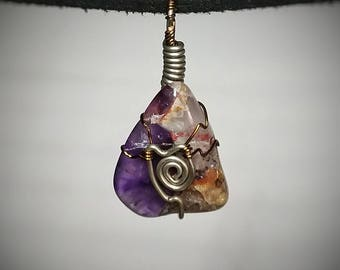 Amethyst Pendant - Wire Wrapped Jewelry - Purple Amethyst Crystal with Yellow Red and Black Impurities - Spiral Wire Design - Handmade