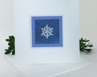 Snowflake on blue embossed Christmas card, individually handmade: peace on earth, holiday card, winter, peace, snow, SKU PESQ1002