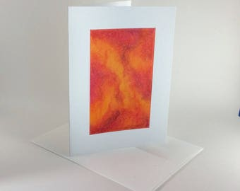 Colors of fire oil pastel blank card, original art, not a reproduction, individually handmade: A7, notecards, fine cards, SKU BLA71017