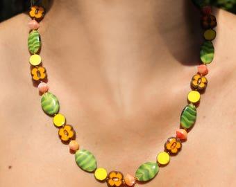 Glass Beads - Desert sky neckless & Earring ** LIKE SWAROVSKI