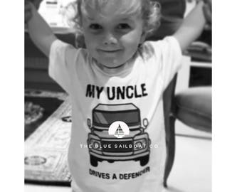 My Uncle Drives a Defender All Sizes, Land Rover, Defender, Kids TShirt, Cars, Novelty Gift, Defender T-Shirt, Land Rover T-Shirt