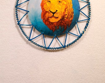 Blue Leather Leo Dreamcatcher