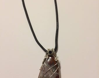Crazy Lace Agate Wire Wrap Pendant