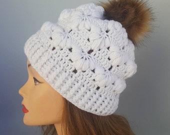 white hat women, white knit hat,white hand-knit hat,white winter hat,winter hat,handmade knit hat,winter hat with pump,winter hat woman