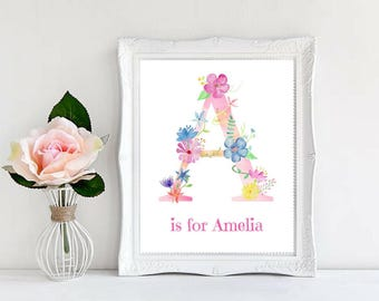 Custom Name, Personalized Name, Monograms, Beautiful Watercolor Printable, Floral, Baby Shower Gifts, Nursery Decor, Typography