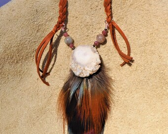 handmade antler necklace with feathers.