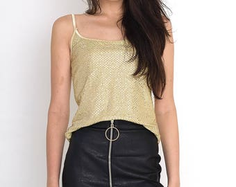 VINTAGE Gold Shiny Sleeveless Retro Tank Top