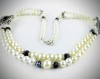 Glass beaded pearl necklace, glass pearl and black beads with double bead strands, 21 inch necklace, gift for wife, sister, mother, friend