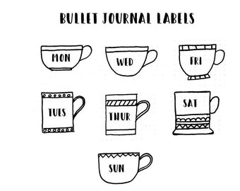 28 tea cup bullet journal planner stickers