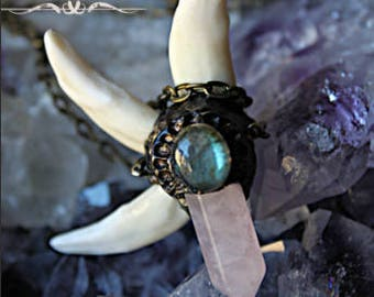 Angrboða | BODHVILD | Warrior Necklace | Warrior Girl | Viking Girl | Real Wolf Teeth | Natural Quartz Obelisc | Pagan Witch Celtic Necklace