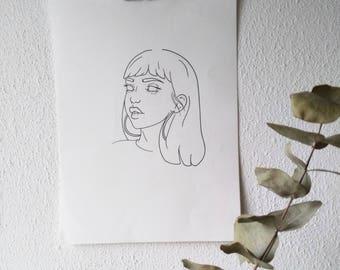 G R E T A - print illustration/ wall art/ tattoo template