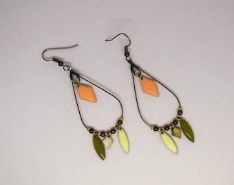 Earrings drop dangling/beads/Hematite/pink woman pale/khaki/cream/diamond/geometric/modern/Bohemian/shuttle/gift