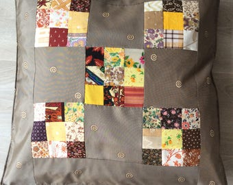 Silk and patchwork Cushion cover