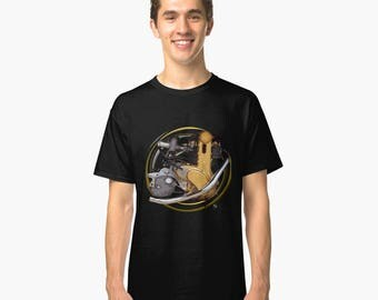 A.J.S. 7R engine inspired classic retro bespoke Motorcycle art T-Shirt INISHED
