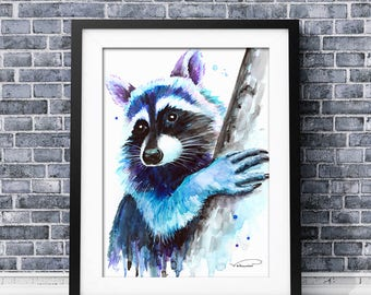 Raccoon watercolor print, colorful Raccoon wall art, raccoon painting, raccoon poster, raccoon nursery decor, raccoon illustration