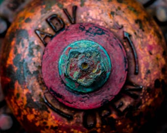 Colorful fire hydrant, metal print, wall art, street scene, city scape, photograph, abstract photography - medium gloss