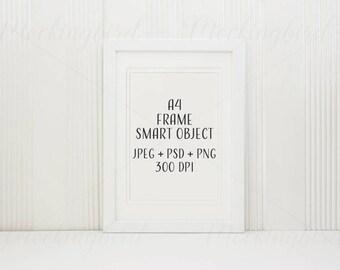 Simple frame mockup with mount, white frame mockup, poster mockup, A4, PNG JPG PSD smart object, digital frame, frame clipart, styled stock