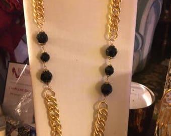 Vintage Heavy Goldtone Link with a Large Black Crystal