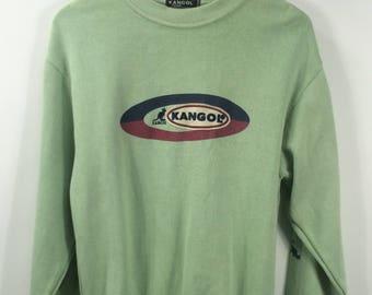 Vintage KANGOL Sea Green Sweatshirt Mens Crewneck Medium 90's Kangol England Pullover Sportwear Kanggol Spellout Sweaters Jumper Size M