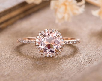 Morganite Engagement Ring Rose Gold Unique Halo Diamond Bridal Women Half Eternity Antique Wedding Ring Anniversary Gift For Her