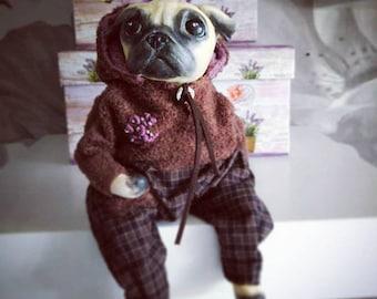 OOAK handmade art doll, Interior doll, dog doll (Dog pug). Interior toy. Soft sculpture.