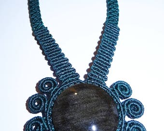Makrame necklace with shimmering obsidian from Mexico