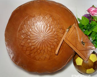 Lot of 2 pcs : Pouf + Handbag handmade Moroccan pouf Leather Natural Authentic Moroccan Pouf Handcrafted