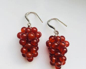 Ruby Red Jade Cluster Earrings.Grape Earrings.925 Sterling Silver Earrings.Jade Dangle Earrings.Fruit Earrings.Red Jade Jewelry.Gift for her