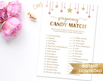 Baby Shower Game Pregnancy Candy Match Game | How Sweet It Is Shower Game | Pink and gold baby shower game | Dunjica Design