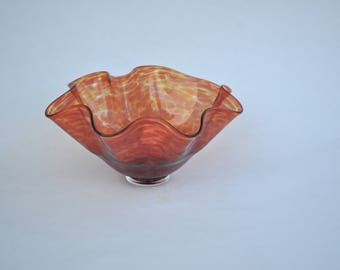 Hand Blown Glass Bowl: Orange Decorative Glass Bowl, Spring Decor, Easter Gift, Home Decorations, Art by Graham Judge