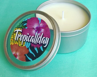 Tropical scented soy candle tin