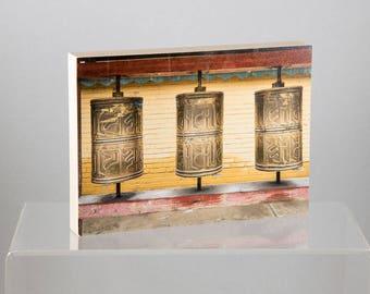 Prayer wheels, Mongolia, mounted on Wood Panel