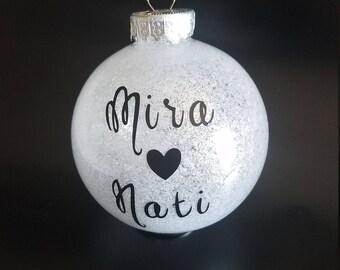 Custom Christmas Ornaments   Custom Made   Glitter White and Black