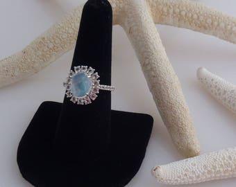 Moonstone (2.00 Ct), White Topaz Ring