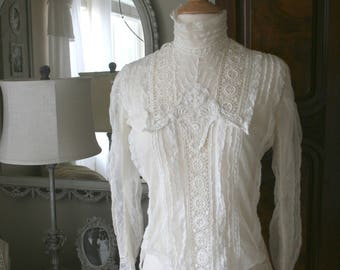 Romantic Antique Edwardian Cream Lace Net Blouse, Gibson Girl, high collar,  1900, 1910, vintage,