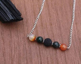 Bloodstone and Carnelian Diffuser Necklace