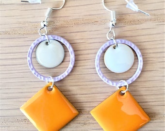 Earrings geometric enamel square and circle, yellow, blue, pink