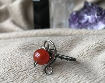 Carnelian Wire Wrapped Ring, Size 7, Metaphysical, Red, Ring, Wire Weave