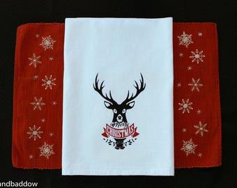 Christmas Towel, 28x28, Flour Sack, Merry Christmas, Dishtowel,  Gift, Reindeer, White kitchen towel, HOSTESS GIFT