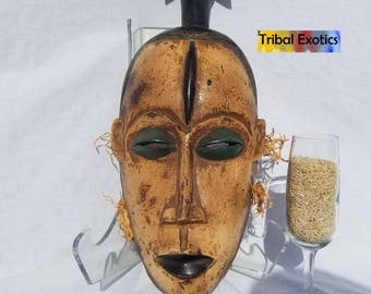 TRIBAL EXOTICS : PREMIUM Authentic fine tribal African Art - Guro Kweni Lorube Superstructure Wood Mask Figure Sculpture Statue