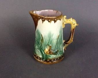 Early 1900's English Majolica Pitcher, Geese with Griffey Handle