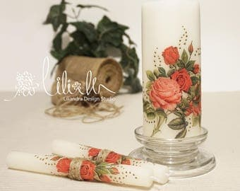Rustic Red Rose Wedding Candle Set, Personalized Candles,Handmade,Rose Wedding candles, Romantic candles, Decorated Candles (3pc set)