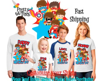 SUPERHERO Birthday BOY Theme Family WHITE Shirts For the Entire Family Mom Dad Brother and More T-shirts Long/ Short sleeve superboy ironman