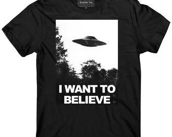 UFO t-shirt, I want to believe t-shirt, glow in the dark, Area 51 t-shirt, Alien