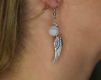 Silver Dangle Earrings with a Frosted Bead and Feather